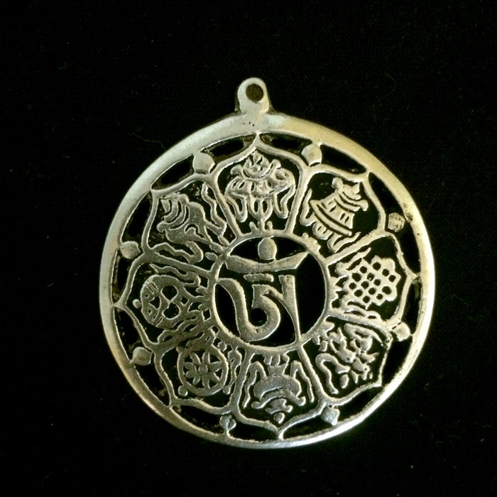 white metal eight auspicious symbols on lotus