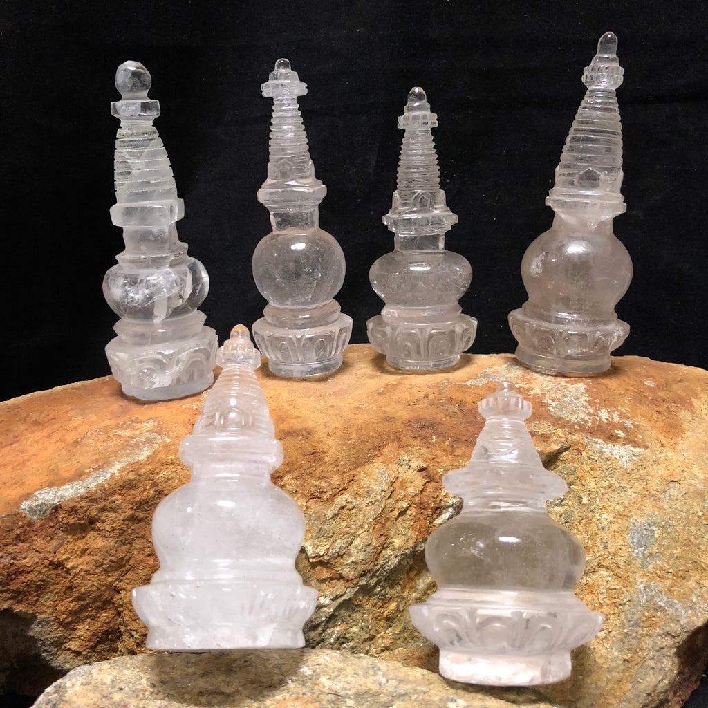 Crystal Quartz Stupa (round base)