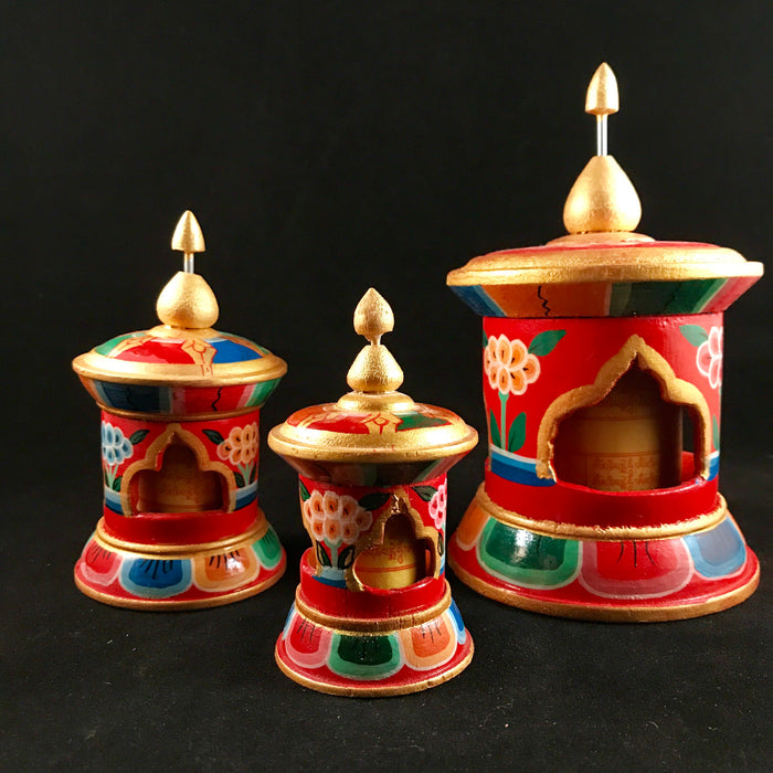 wooden tabletop prayer wheel