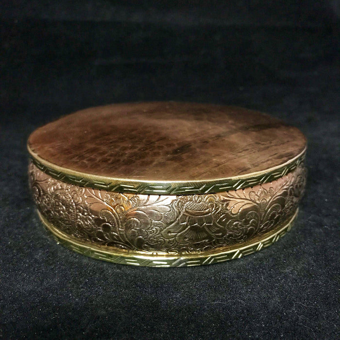 hand-beaten copper mandala base w/intricate 8 auspicious