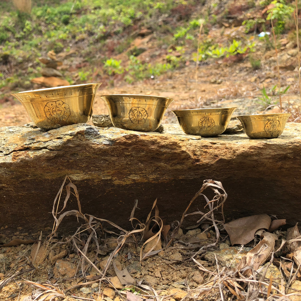 polished brass offering bowls w/design