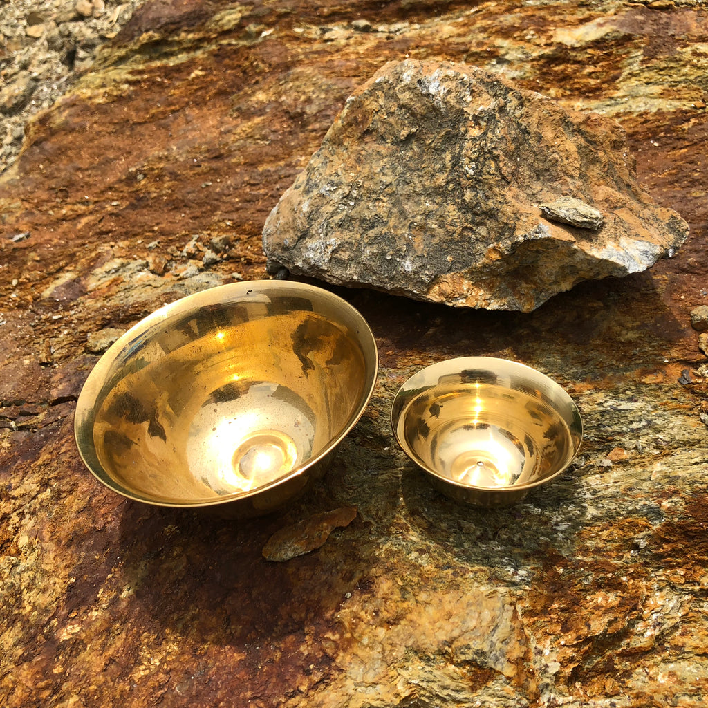 Polished Plain brass offering bowls