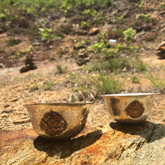 silver plate offering bowls w/copper design