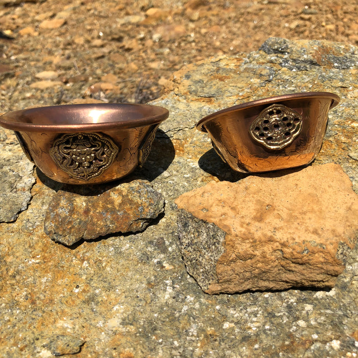 copper offering bowls w/medallion & design
