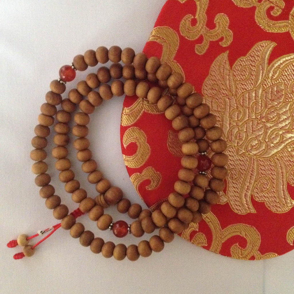 sandalwood mala w/spacer beads - 8mm
