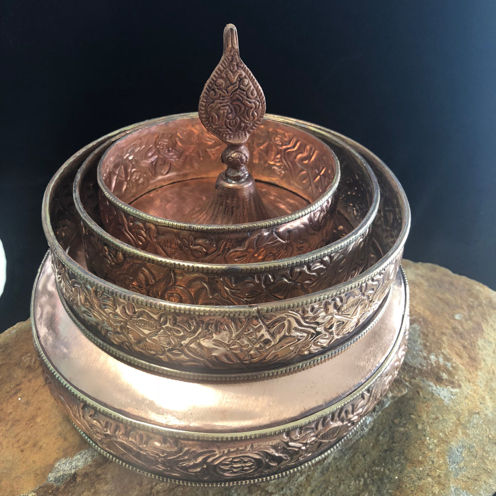 Copper Mandala Set w/Brass Trim