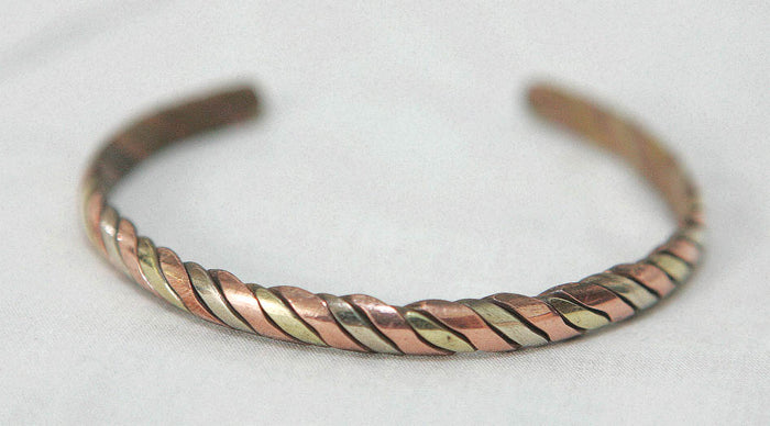 three-metal woven bangle