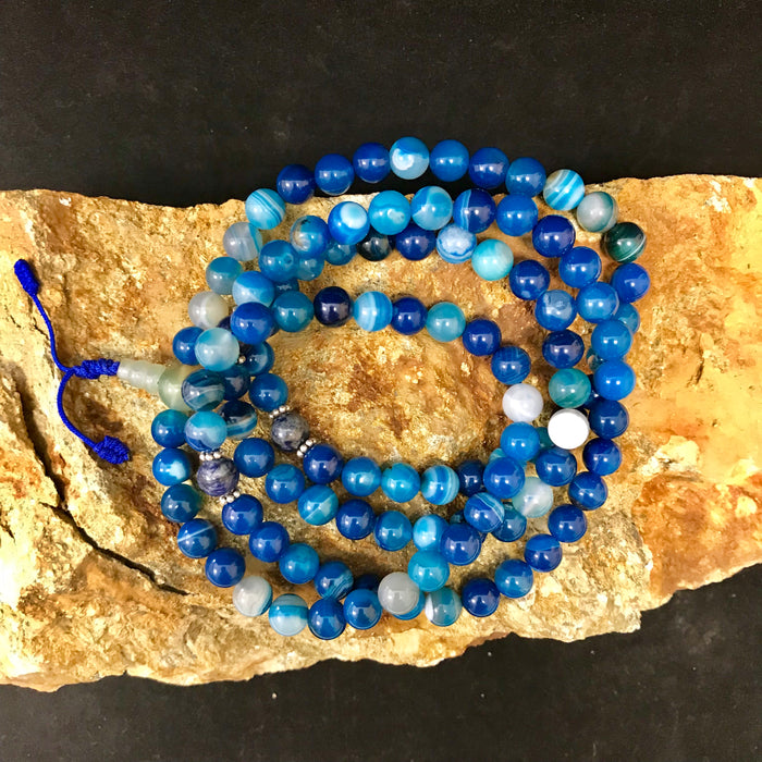 Agate Blue Mala 8mm #1