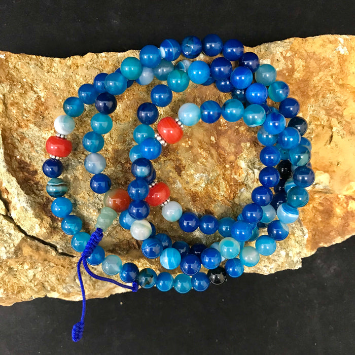 Blue Agate Mala w/Red Coral Style Spacers