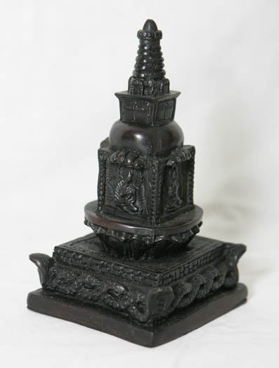 Newari style resin stupa w/carved detail