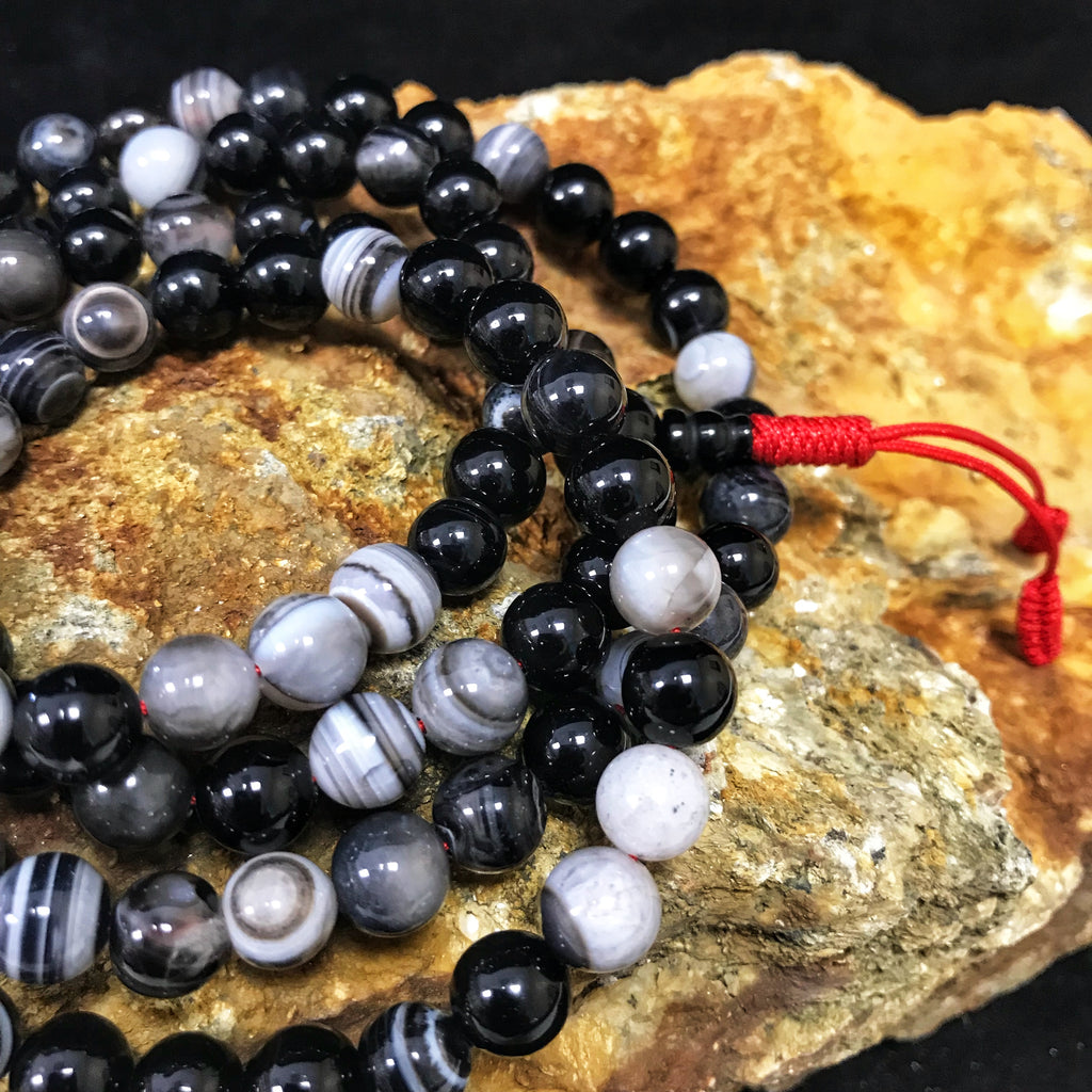 agate black mala 8mm