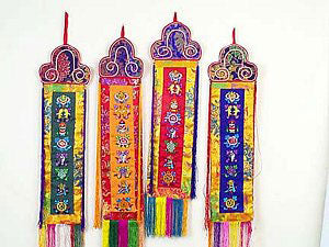 Eight auspicious symbols wall-hanging - 9x44""