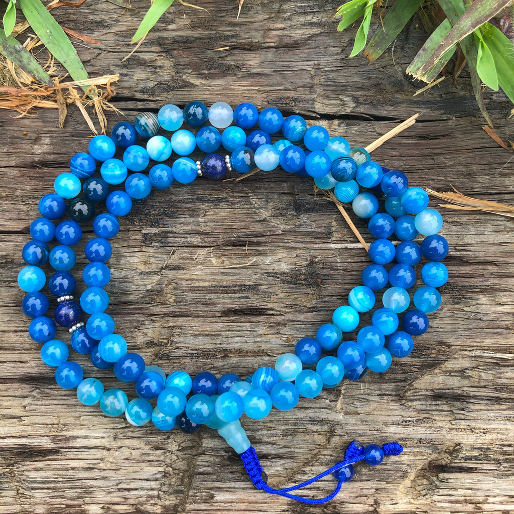 Blue Agate Mala w/Lapis Spacers
