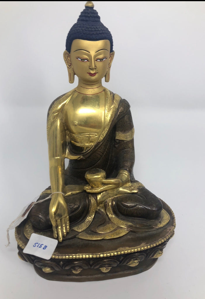 "Set of 5 Buddha Statues - 8"" Tall, Gold Color"