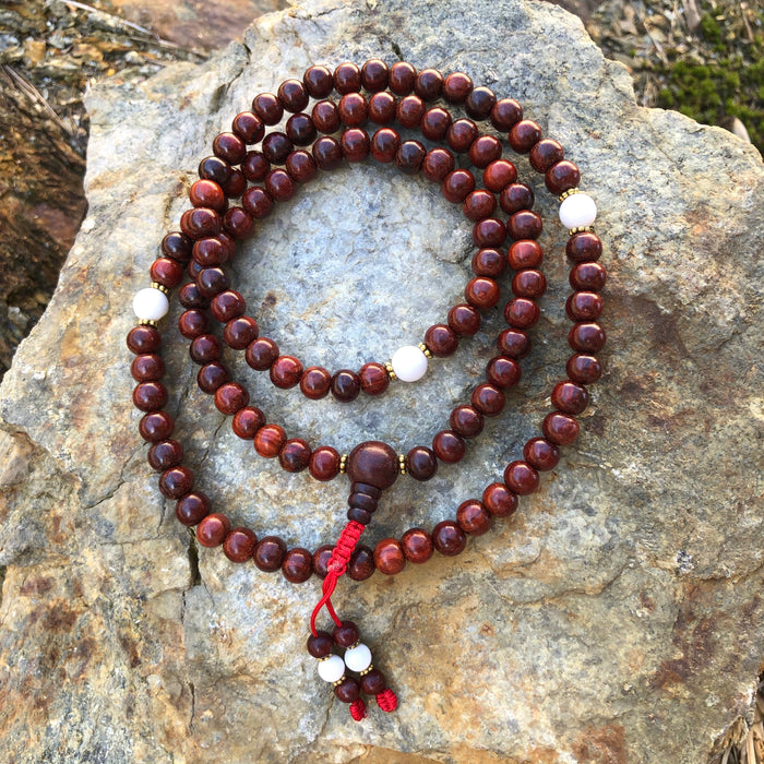 Red Sandalwood Mala w/Spacers