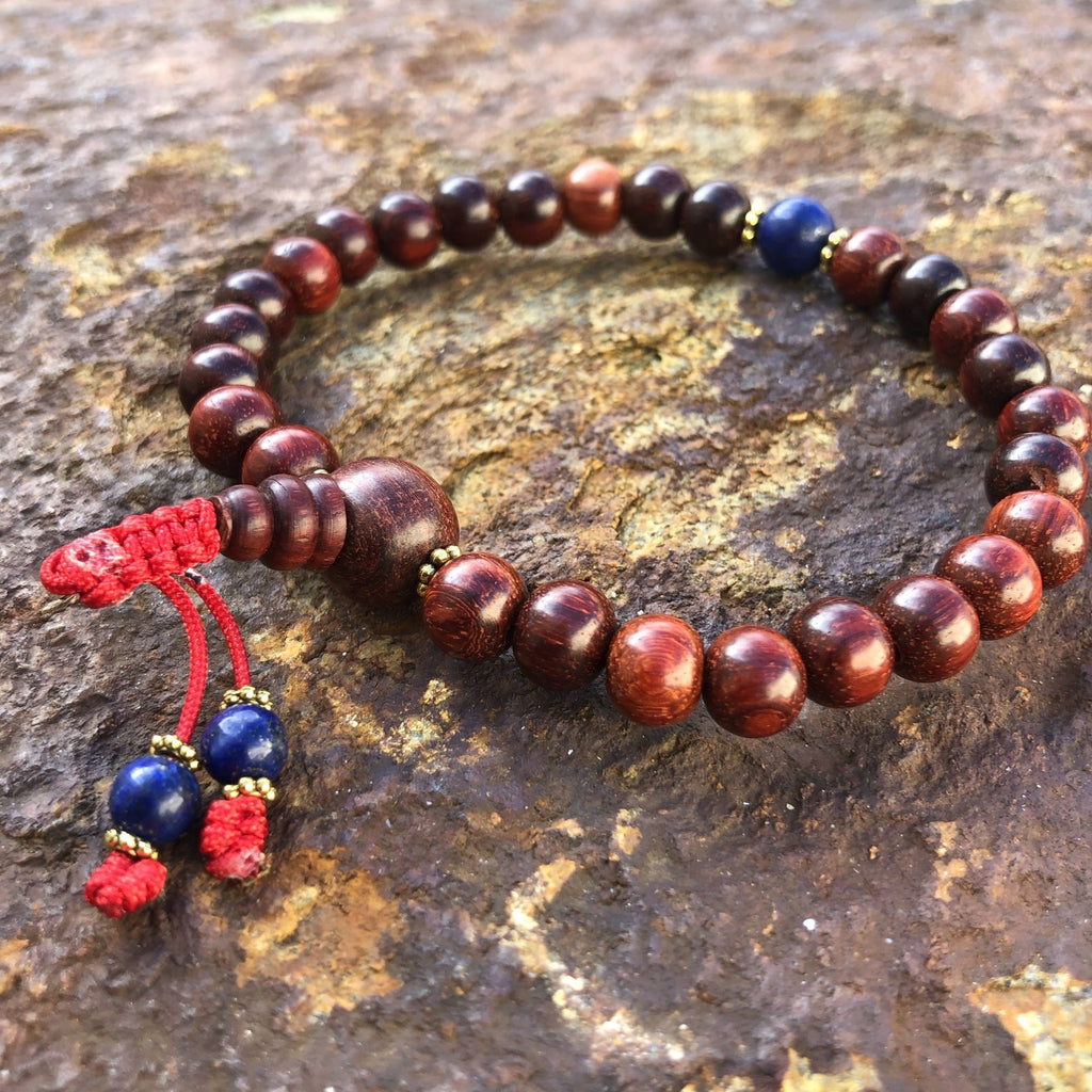 Red Sandalwood Wrist Mala w/Spacer Beads