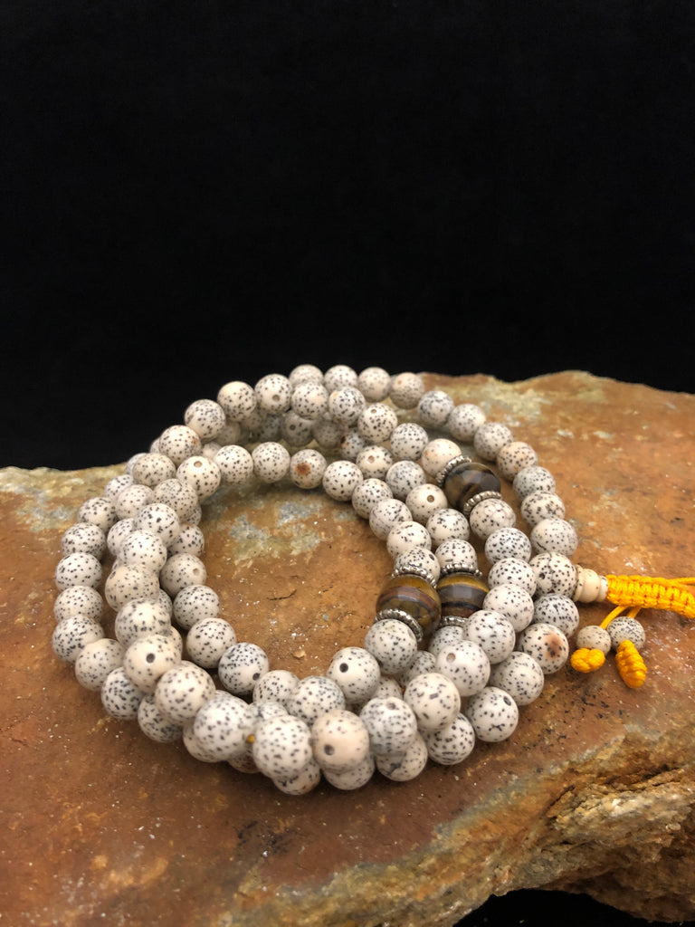 lotus seed mala - with gemstone spacer