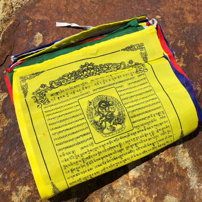 "Lion Face Dakini- prayer flags - 12"" x 12"""