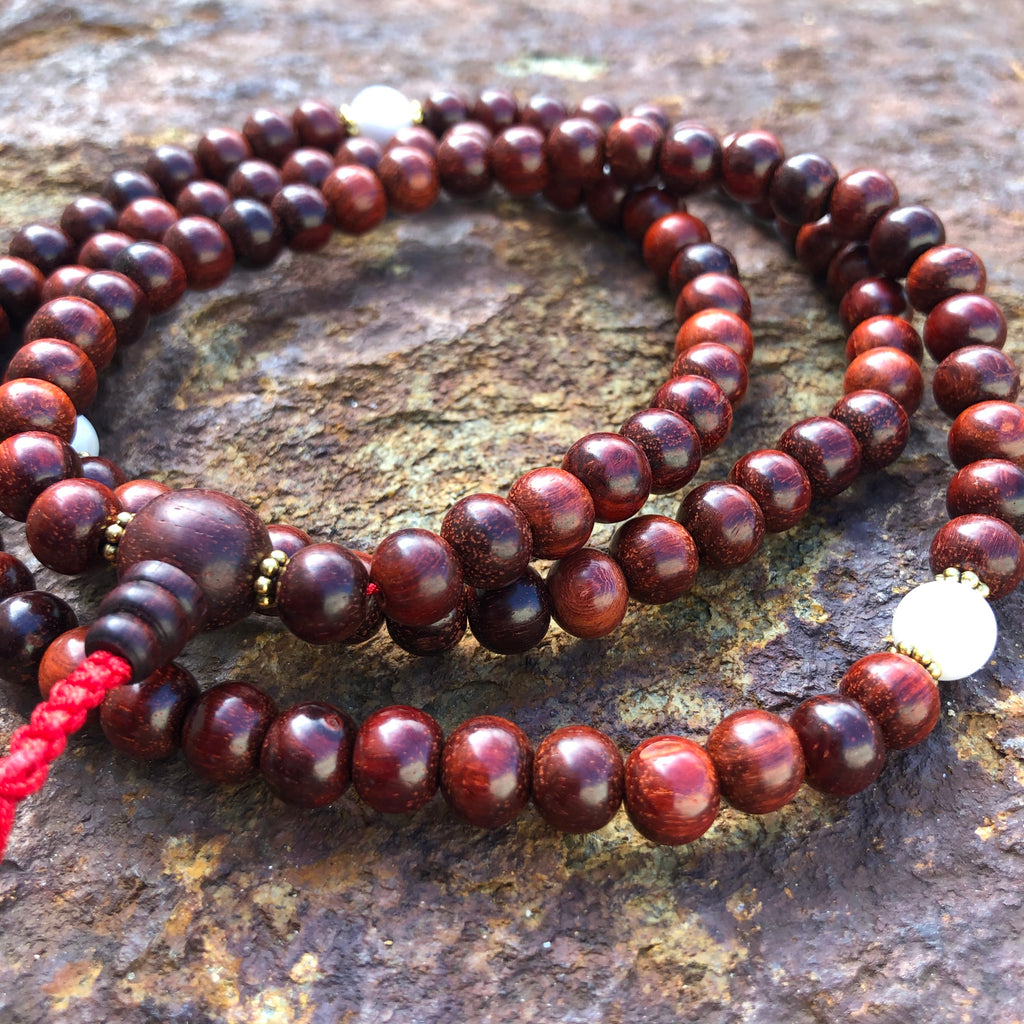 Red Sandalwood  Mala w/Spacer Conch Beads