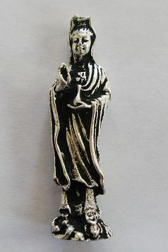 "Kwan Yin, silver on brass, 1 "" to 2 "" tall."