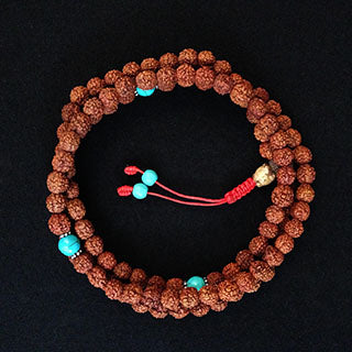 rudraksha mala with turquoise spacers