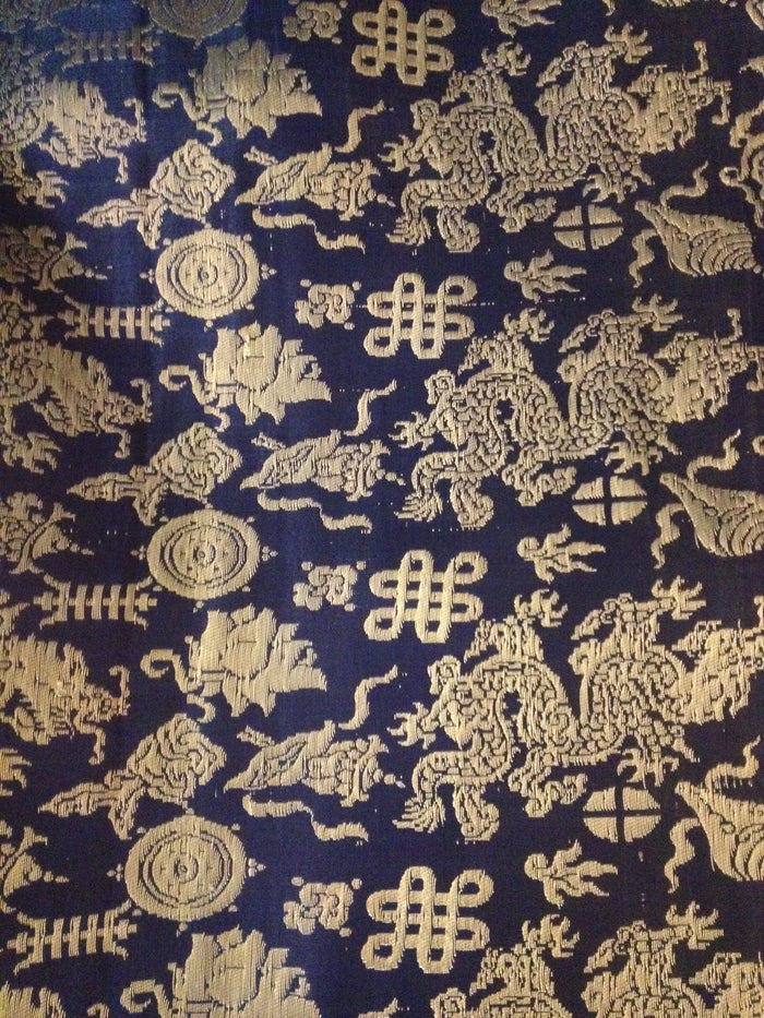 "brocade style w/dragon & longevity symbol - 27"" wide"