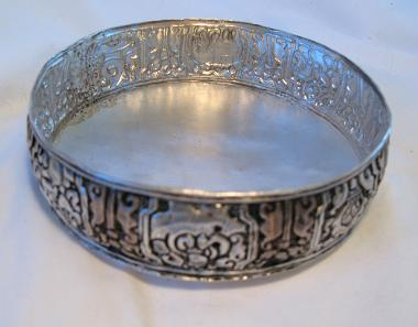 silver plated mandala base w/raised design