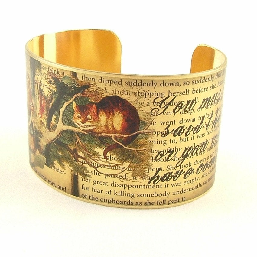 Alice In Wonderland Cheshire Cat Brass Cuff