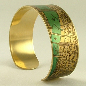 Antique London Street Map Cuff Bracelet