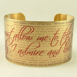 Mr Darcy Proposal Cuff Bracelet