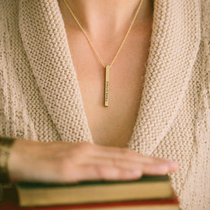 She Is Too Fond Of Books Bar Necklace