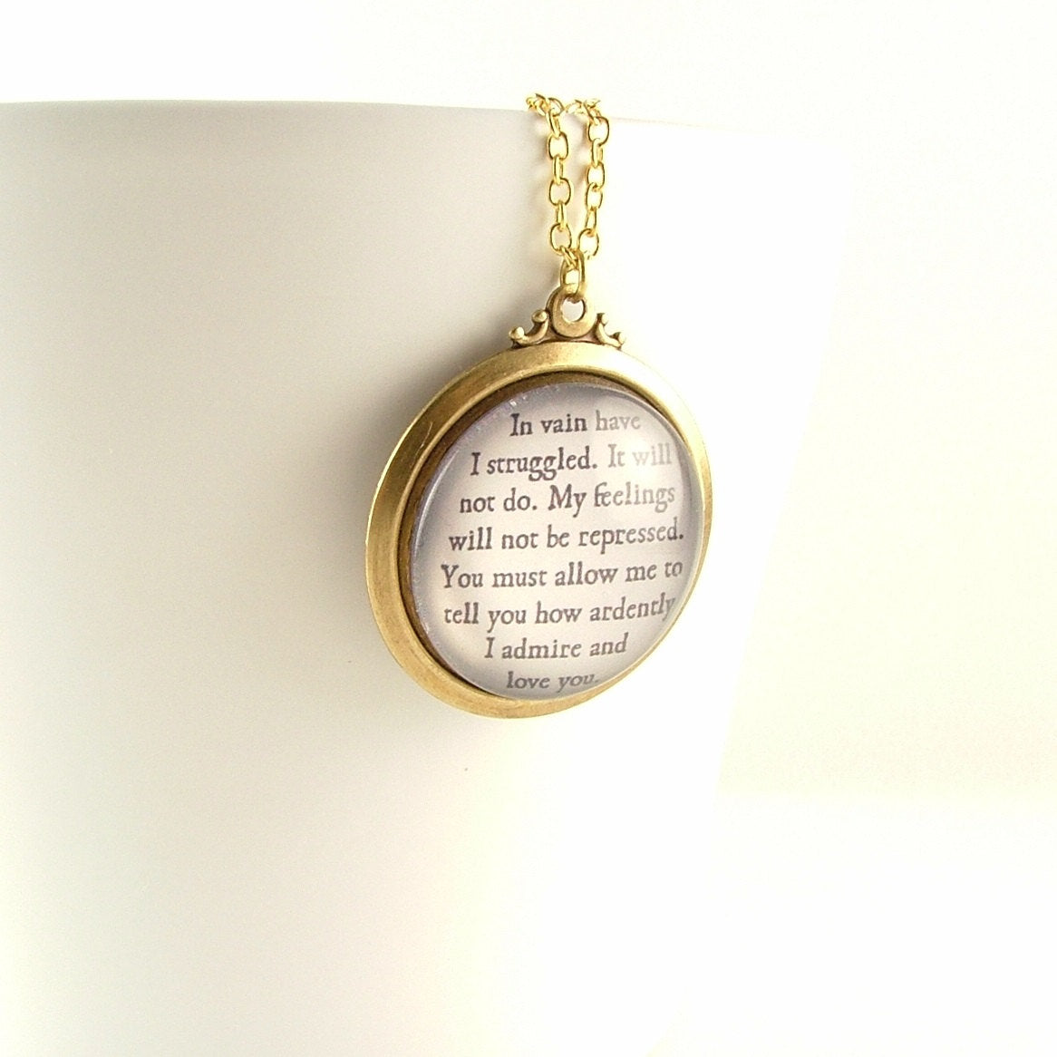 Pride and Prejudice Glass Necklace