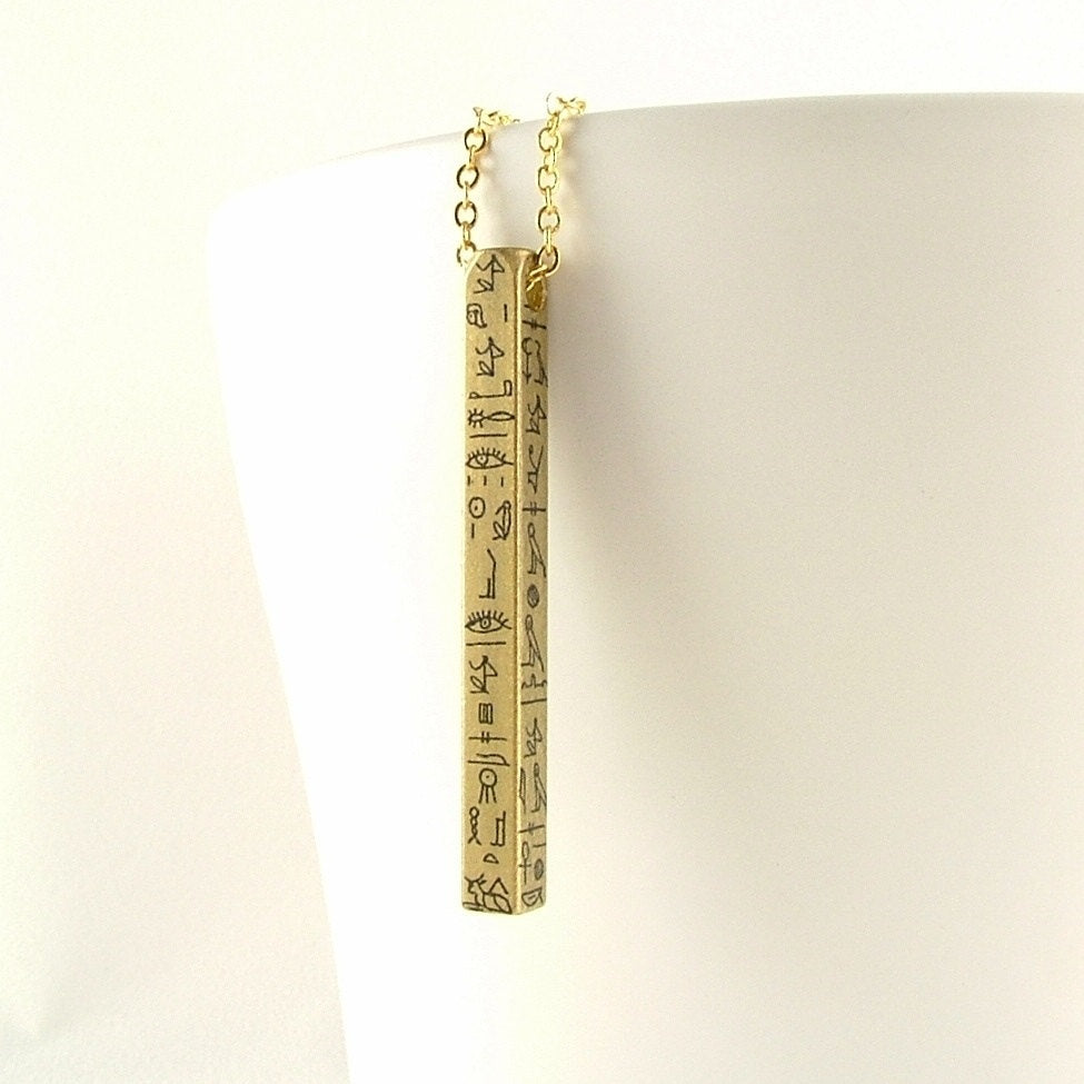 Egyptian Hieroglyphs Bar Necklace