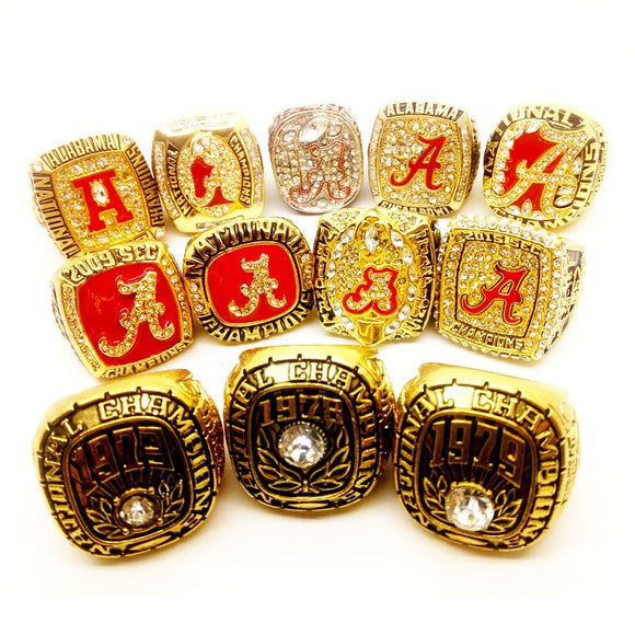 1973 1978 1979 1992 1999 2008 2009 2011 2012 2014 2015 2016 Alabama Crimson Tide Rings Set