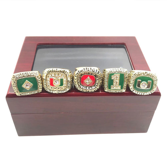 1983 1987 1989 1991 2001 Miami Hurricanes Championship Ring Set