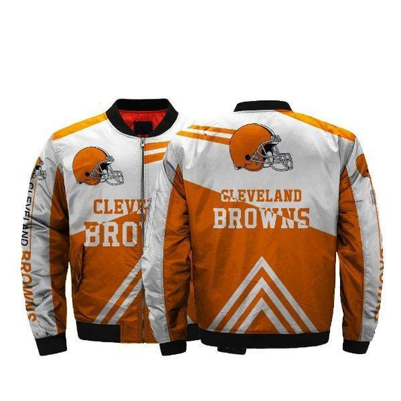 NFL Football Men's Bomber Jacket Cleveland Browns Jackets Coats-jacket-4 Fan Shop
