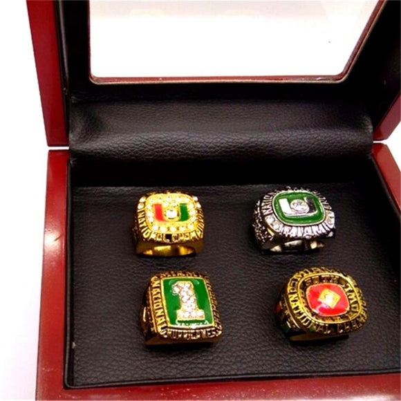 4pcs/set 1983 1989 1991 2001 Miami Hurricanes National Championship Ring-Ring-4 Fan Shop