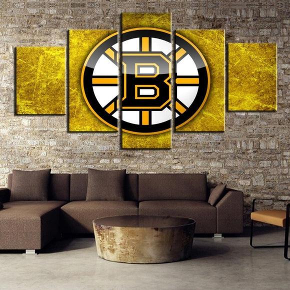 5 Panel Boston Bruins Wall Art Cheap For Living Room Bed Room Wall Decor-canvas paintings-4 Fan Shop