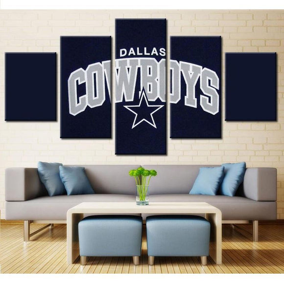 5 Panel Dallas Cowboys Canvas Wall Art Cheap For Living Room Home Decor-canvas paintings-4 Fan Shop
