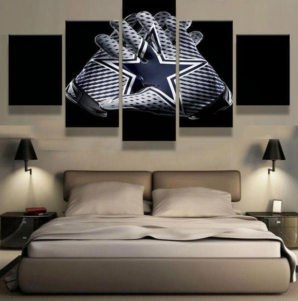5 Panel Dallas Cowboys Canvas Wall Art Helmet Football For Living Room-canvas paintings-4 Fan Shop
