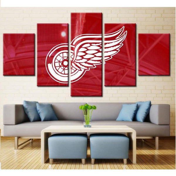 5 Panel Detroit Red Wings Wall Art Cheap For Living Room Wall Decor 4 Fan Shop