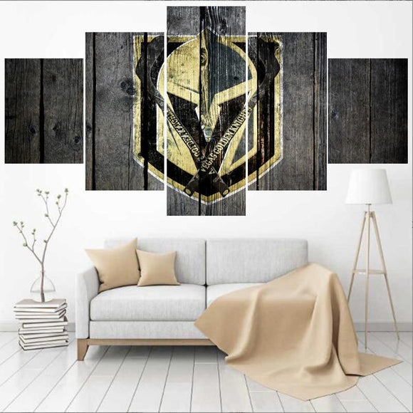 5 Panel Vegas Golden Knights Wall Art Cheap For Living Room Bedroom-canvas paintings-4 Fan Shop