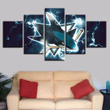 5pcs San Jose Sharks Canvas Wall Art Cheap For Living Room-canvas paintings-4 Fan Shop