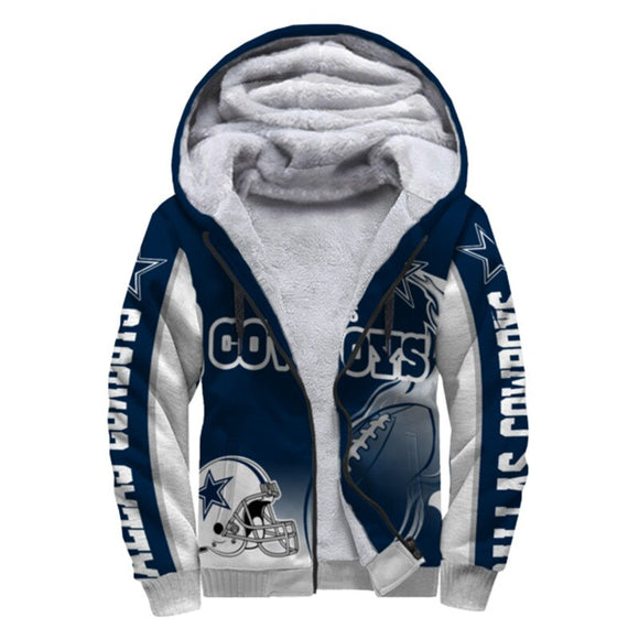 Dallas Cowboys Fleece Jacket Design Printed Ball Flame 3D-jacket-4 Fan Shop