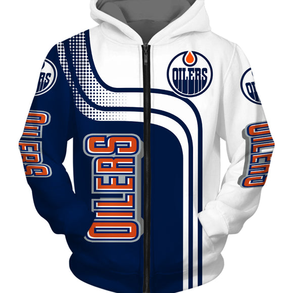 Edmonton Oilers Hoodies 3D Cheap Long Sleeve Zip Up Hoodie-Sweatshirt-4 Fan Shop