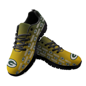 Green Bay Packers Sneakers Repeat Print Logo Low Top Shoes-Shoes-4 Fan Shop