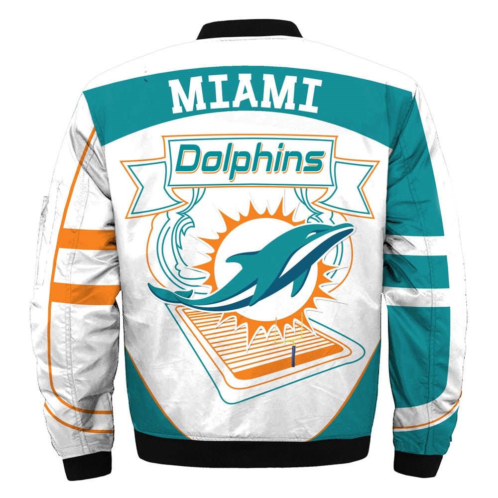 online store f9353 4cae9 Newest Design 2019 NFL Bomber Jacket Custom Miami Dolphins Jacket For Sale