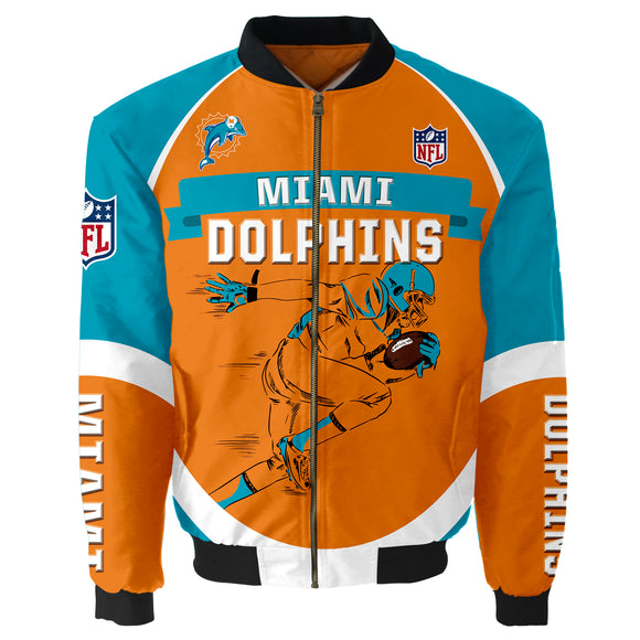 Miami Dolphins Bomber Jacket Graphic Player Running-jacket-4 Fan Shop