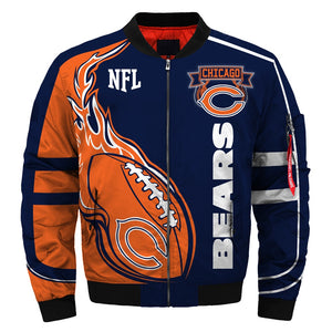 Newest Design 2019 NFL Bomber Jacket Custom Men's Chicago Bears Jacket For Sale-jacket-4 Fan Shop