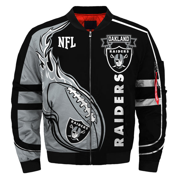 Newest Design 2019 NFL Bomber Jacket Custom Oakland Raiders Jacket Cheap-jacket-4 Fan Shop